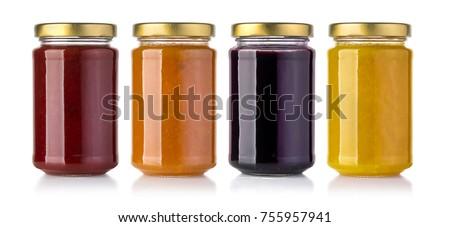 Jars of  jam isolated on white background  #755957941