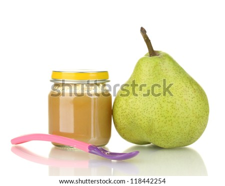Jars with fruit baby food and pear isolated on white