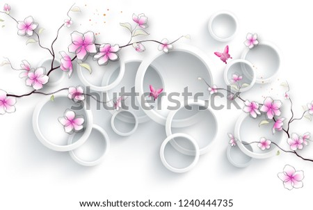 Jasmine flowers branches on decorative 3D ring white background wallpaper