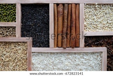 Jasmine rice, Brown rice, Red rice,Black rice, Mixed rice and Riceberry background #672823141