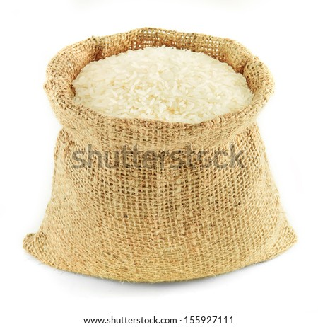 Jasmine rice in small burlap sack
