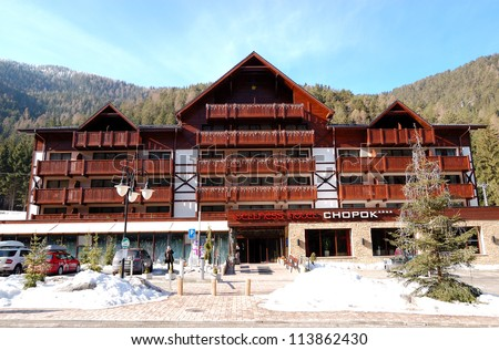 JASNA-MARCH 15: Chopok wellness hotel in Jasna Low Tatras. It is the largest ski resort in Slovakia with 36 km of pistes, March 15, 2012 in Jasna, Slovakia