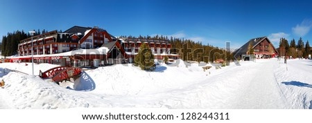 JASNA-MARCH 15: Panorama of Grand wellness hotel in Jasna Low Tatras. It is the largest ski resort in Slovakia with 36 km of pistes, March 15, 2012 in Jasna, Slovakia