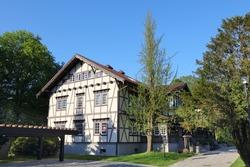 Jastrzebie Zdroj city in Poland. Historic Spa Park (Polish: Park Zdrojowy) and historic spa hall.