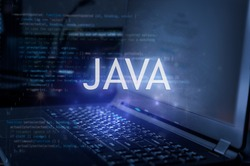 Java inscription against laptop and code background. Learn java programming language, computer courses, training.