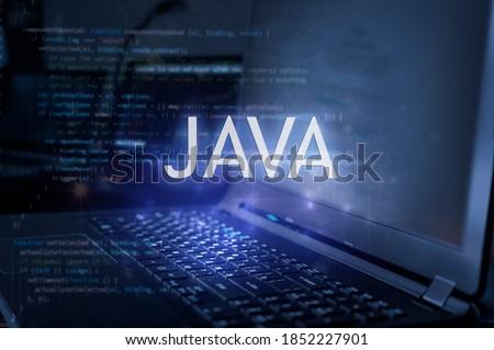 Java inscription against laptop and code background. Learn java programming language, computer courses, training.  Foto stock ©