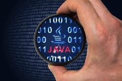 Java programming language and binary code inside magnifier