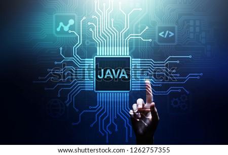 Java programming language application and web development concept on virtual screen. Foto stock ©
