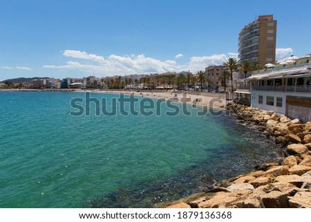 Javea Spain Playa de la Grava beach in summer with blue sky and sea also known as Xabia Foto stock ©