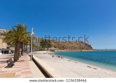 Javea Spain with beautiful Platja de la Grava beach in summer with blue sky and sea, also known as Xabia Foto stock ©