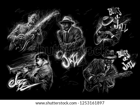 Jazz and Blues music set. Music characters are playing the saxophone, trumpet and guitar. Abstract line grunge style illustration festival poster with written by hand font on black background.