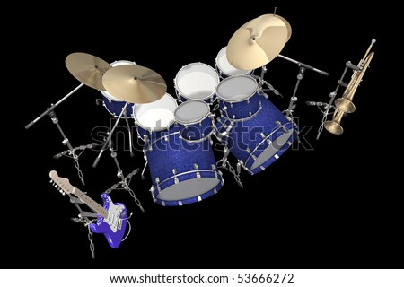 Jazz background drum kit guitar and trumpet - stock photo