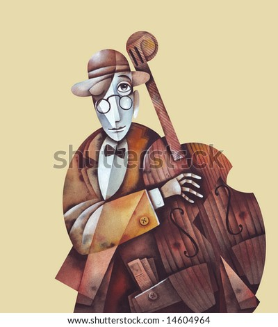 Jazz man with cello. Illustration by Eugene Ivanov.
