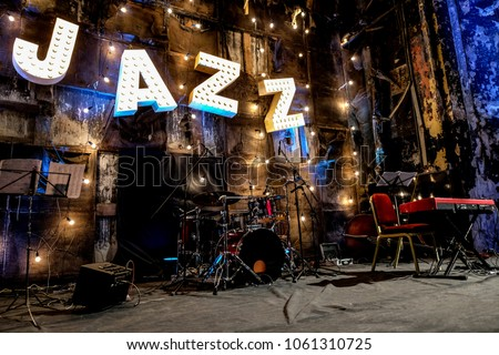 Jazz Music Concert Stage Night Light Decoration Beautiful Vintage  Gloving Bulbs Lights Letters Musical Instruments Music Notes Red Piano Objects Darkness Old Interior Wall