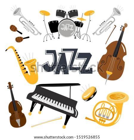 Jazz musical instruments. music instrument objects collection isolated on white, drums and tuba, vintage brass, acoustic violin orchestra