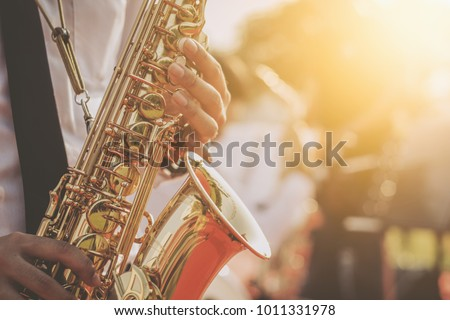 jazz musician playing the saxophone Beautiful voice / Jazz mood Concept