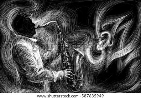 Jazz saxophone player jazz musician saxophonist abstract line grunge style illustration festival poster