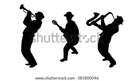 Jazz Trio Musicians silhouette isolated on white background. Saxophonist, Trumpet player, Guitarist man. Black white. Oktoberfest. Jazz festival wallpaper. Music silhouette. Jazz band Dance fest. 2019