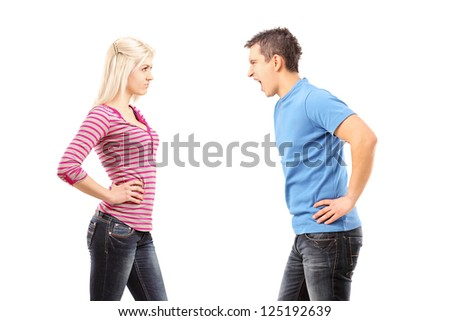 Jealous man shouting at a woman isolated on white background