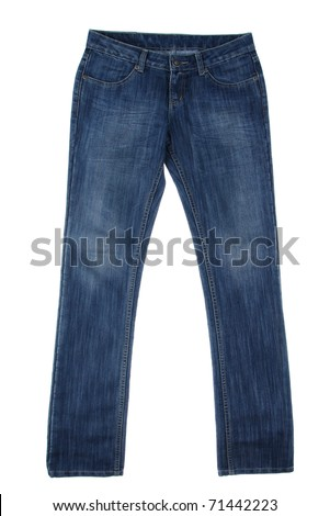 Jean a popular trousers for men and women isolated on white - stock photo