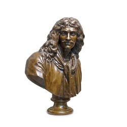 Jean Houdon (1741-1828). Portrait of the French actor and playwright Moliere (1622-1673). Bronze. Sculpture created by the century Moliere in 1773