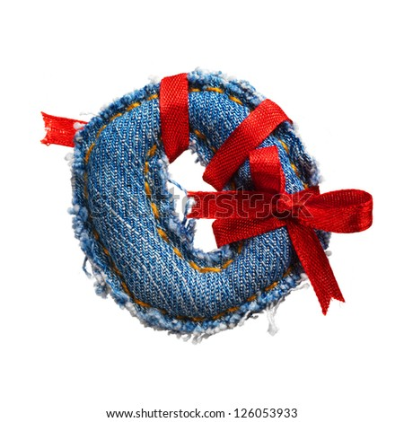 Jeans alphabet digit with holiday red ribbon isolated on white