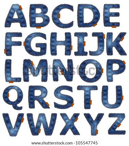 Jeans alphabet isolated. Vector format available in portfolio.