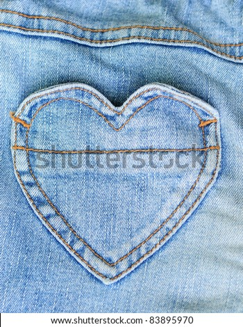 Jeans and heart shape pocket