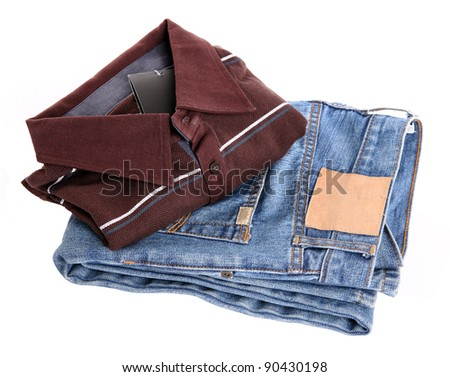 Jeans and t-shirt on white background.