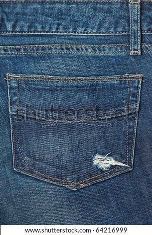 Jeans background. Back Pocket of Jeans.