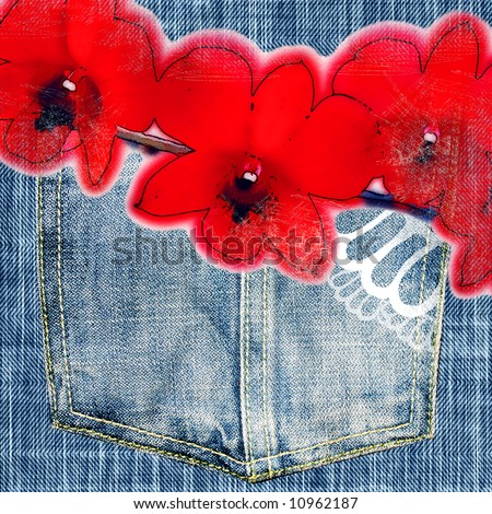 jeans background with orchids drawing for scapbook
