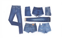 Jeans clothing collection with denim jeans, shorts