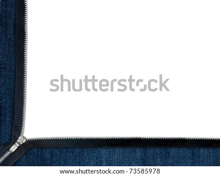 Jeans frame with zipper over white
