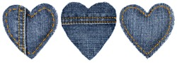 Jeans Heart Shape Patch Object with Stitches Seam, Decorative Fabric Joint Isolated White Background, Valentines Day Textile Icon