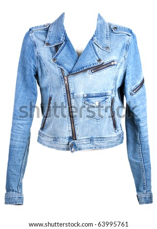 Jeans jacket in zipper insulated on white background