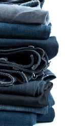 Jeans pile isolated on white