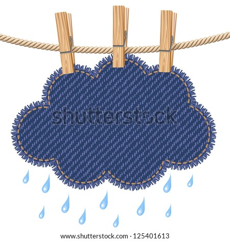 Jeans rain cloud hanging on a clothesline. Raster version. Vector is also available in my gallery