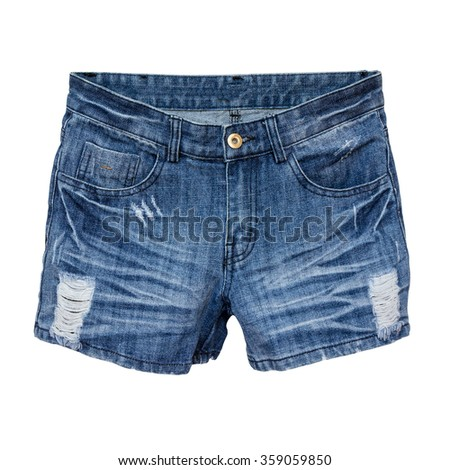 jeans shorts isolated on a white background #359059850