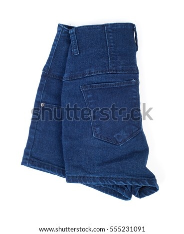 Jeans shorts isolated on white background #555231091