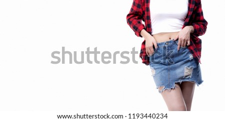 jeans skirt fashion ,Close up teenage girl casual wearing blue denim mini skirt, with copy space for your advertisement or promotional text, isolated on white background. #1193440234