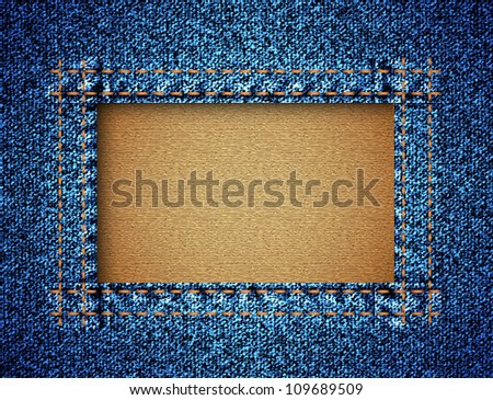 Jeans texture with frame. Raster version
