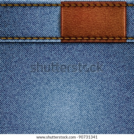 Jeans texture with leather label. Raster copy of vector illustration