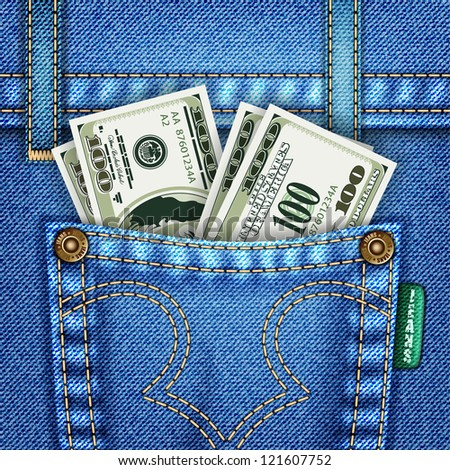 Jeans Texture with Pocket, Dollar Bills and Rivets, illustration