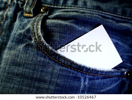 jeans with business card in pocket
