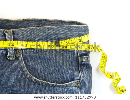 jeans with centimeter in weight loss concept