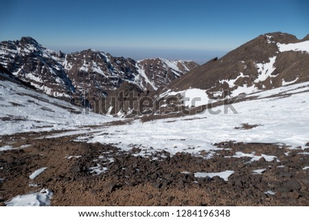 Jebel Toubkal winter ascent highest summit in northern africa in high atlas mountains in morocco #1284196348