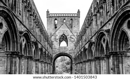 Jedburgh Abbey in the Scottish Borders, Scotland in Black and White