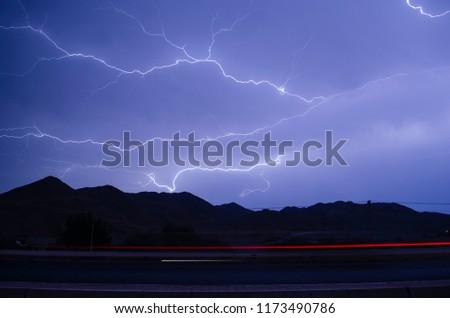 Stock Photo Jeddah highway Lightning in Saudi Arabia
