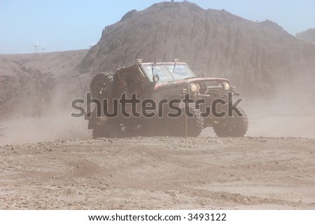 Jeep in an offroad race action
