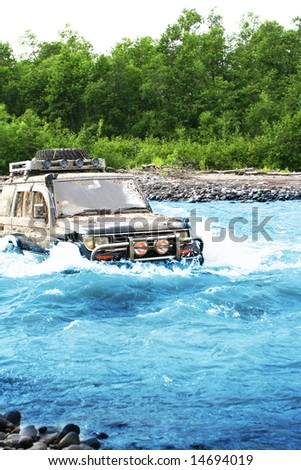 Jeep in river